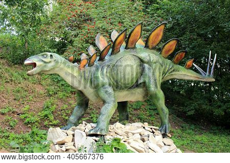 Kirov, Russia, 08.17.2013 Close-up Figure Of Stegosaurus In The Park