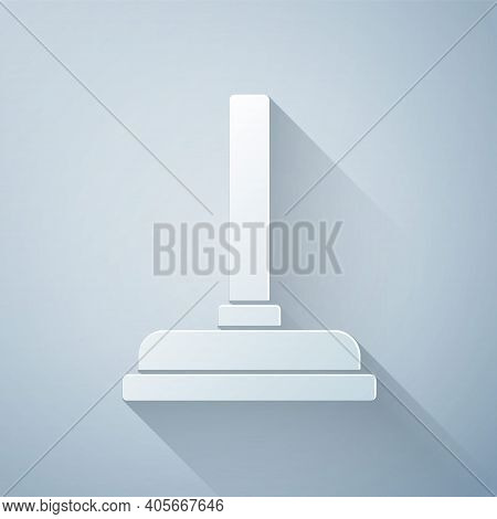 Paper Cut Rubber Plunger With Wooden Handle For Pipe Cleaning Icon Isolated On Grey Background. Toil