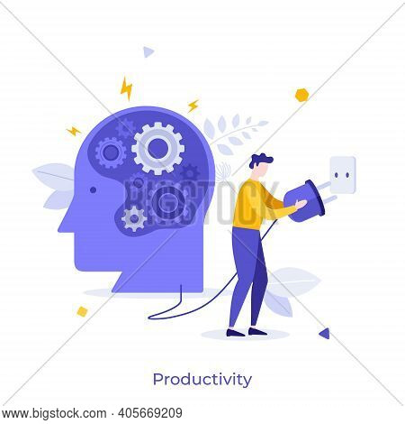 Human Head With Gear Wheels Inside And Man Putting Power Plug Into Socket. Concept Of Productivity,
