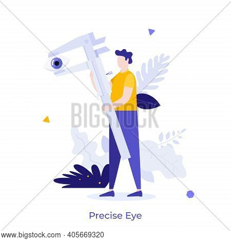 Man Measuring Human Eye With Vernier Caliper. Concept Of Engineering Tool For Precise Dimension Meas
