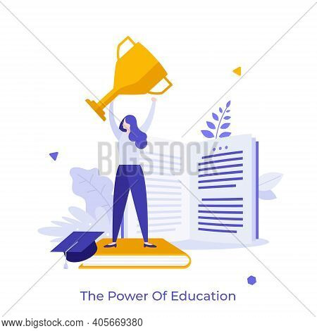 Woman Holding Golden Champion Cup, Book And Graduation Cap. Concept Of Power Of Education, Successfu