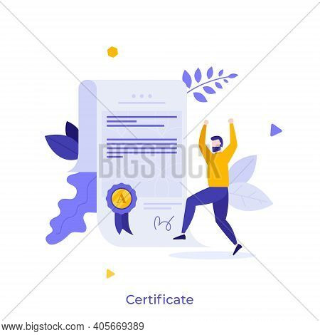 Man And Document With Wafer Seal And Ribbon. Diploma Or Certificate Of Honor, Merit, Appreciation, E