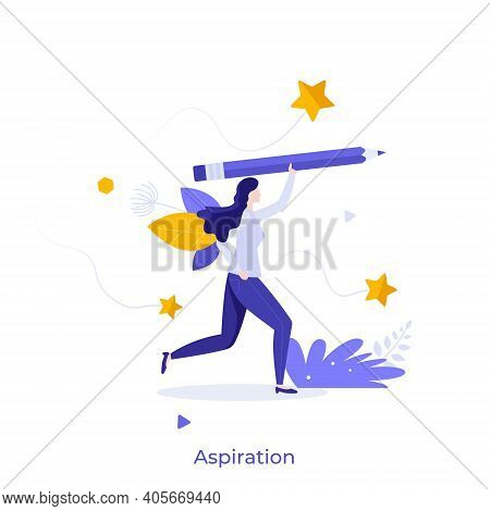 Woman Holding Pencil. Concept Of Aspiration, Ambition Of Goal Achieving, Attempt, Intention, Endeavo