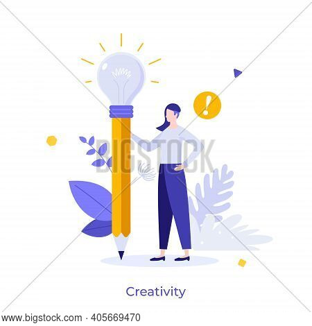 Woman Holding Pencil With Glowing Lightbulb. Concept Of Creativity, Creative Thinking, Innovative Id