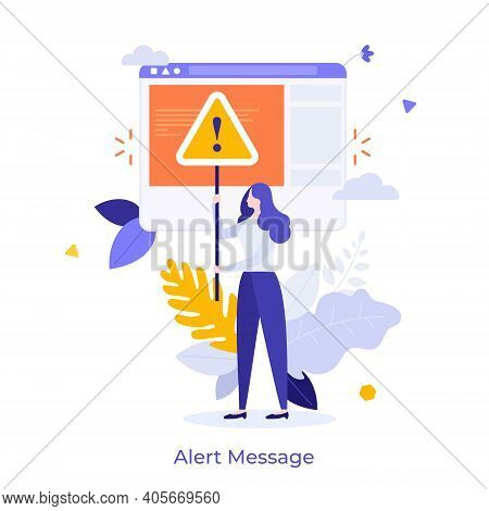 Woman Holding Triangular Warning Sign With Exclamation Mark. Concept Of Fatal Error, Operating Syste