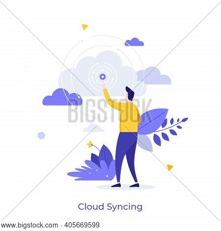 Person Pointing At Signal Source. Concept Of Cloud Syncing, Online Data Synchronization, Internet Se