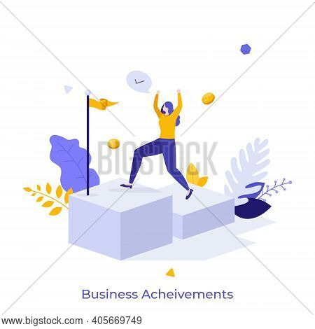 Happy Businesswoman Ascending Stairs And Celebrating Financial Success. Concept Of Business Achievem