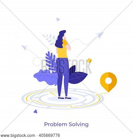 Thoughtful Woman Standing In Maze And Searching For Exit. Concept Of Problem Solving, Business Think