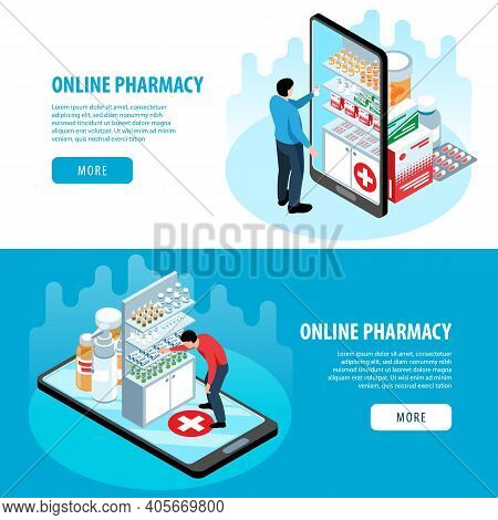 Isometric Pharmacy Set Of Horizontal Banners With More Buttons Text And Images Of Smartphones And Me