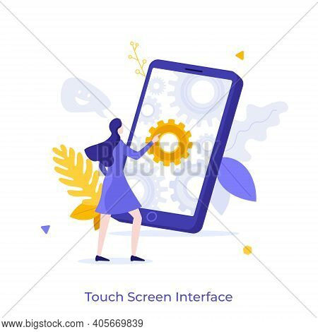 Woman Touching Smartphone Or Cellphone With Gear Wheels On Screen. Concept Of Touchscreen Interface