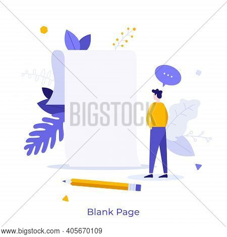 Person Standing In Front Of Empty Paper Sheet. Concept Of Fear Of Blank Page, Writers Block, Beginni