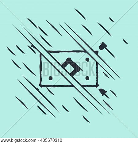 Black Magic Carpet Icon Isolated On Green Background. Glitch Style. Vector