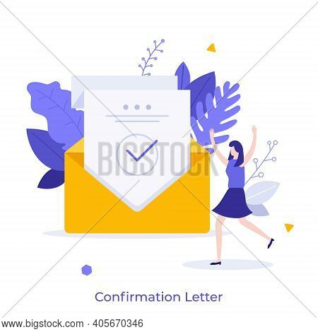 Happy Woman And Sheet Of Paper With Green Check Mark Inside Envelope. Concept Of Confirmation, Accep