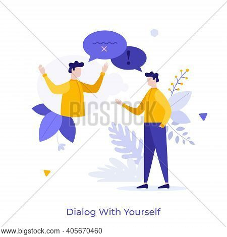Man Chatting With Himself Or His Twin. Concept Of Dialog Or Conversation With Yourself, Inner Voice