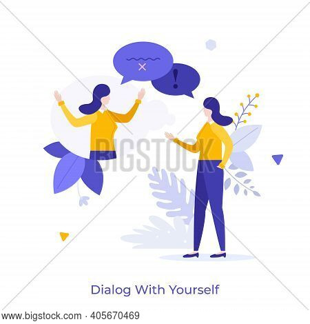 Woman Chatting With Herself Or His Twin. Concept Of Dialog Or Conversation With Yourself, Inner Voic