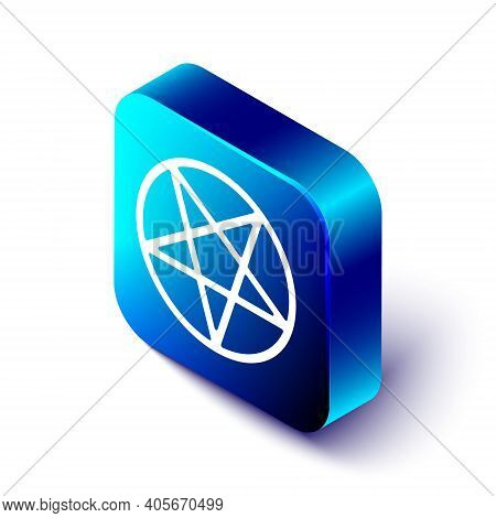 Isometric Pentagram In A Circle Icon Isolated On White Background. Magic Occult Star Symbol. Blue Sq