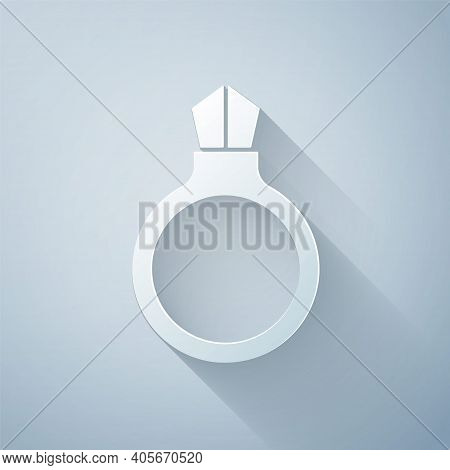 Paper Cut Fantasy Magic Stone Ring With Gem Icon Isolated On Grey Background. Paper Art Style. Vecto