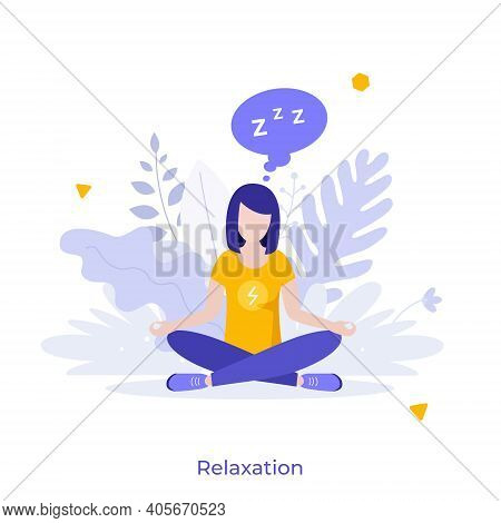 Woman Sitting Cross-legged In Lotus Posture And Meditating. Concept Of Relaxation, Mindfulness Medit