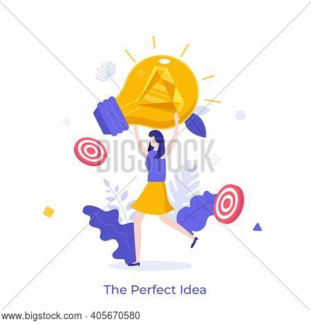 Woman Holding Glowing Lightbulb With Diamond Inside. Concept Of Perfect Or Brilliant Idea, Insight,