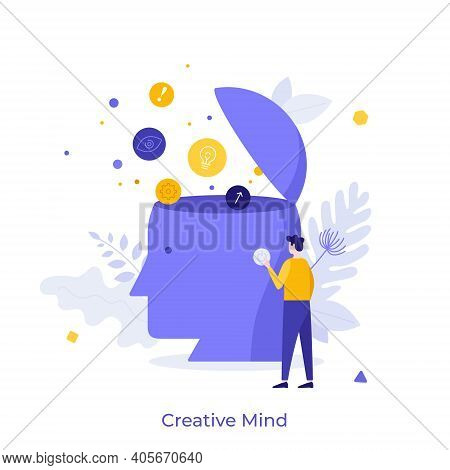 Man Pressing Power Button On Giant Human Head With Thought Bubbles Coming Out Of It. Concept Of Crea