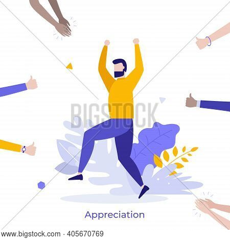 Happy Bearded Man Surrounded By Clapping Hands Of Applauding People. Concept Of Social Success, Publ