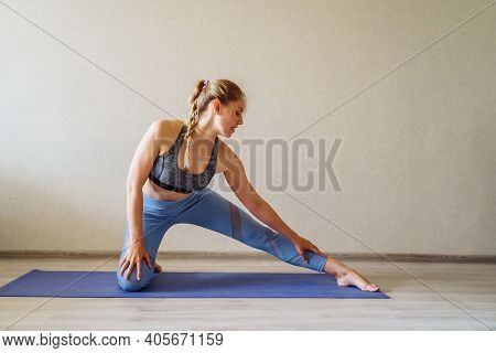 Woman Doing Yoga At Home Online, Sports Exercises, Have Fun, Spending Good Time. Concept Of A Health