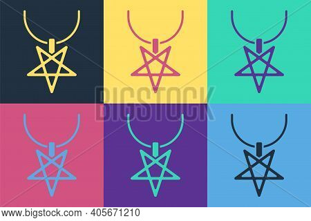 Pop Art Pentagram On Necklace Icon Isolated On Color Background. Magic Occult Star Symbol. Vector