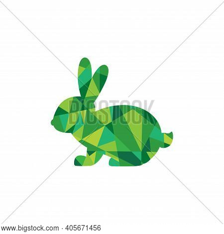 Vector Icon With Green Rabbit In Simple Faceted Design Style. Geometry Style. Rabbit Isolated On Whi