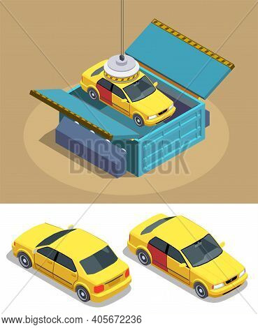 Car Ownership Usage Isometric Composition With Images Of Passenger Cars With Magnet Manipulator And
