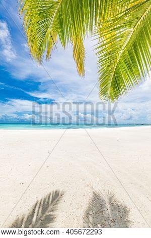 Tropical Sea Beach With Sand, Ocean, Palm Leaves And Blue Sky. Sunny Beach View, Dream Summer Vacati
