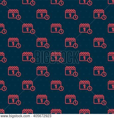 Red Line Calendar With First September Date Icon Isolated Seamless Pattern On Black Background. Sept