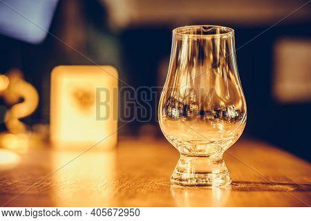 Close Up Shot A Glencairn Whisky Glass