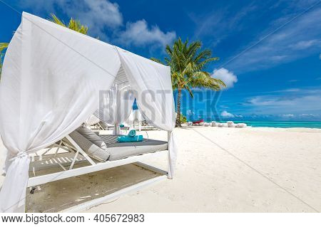 Serenity Beach Background, Luxury Beach Canopy And Travel Or Summer Vacation Concept. Amazing Tropic