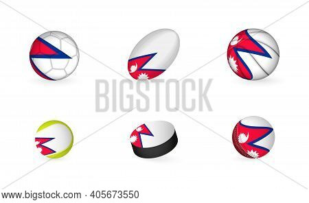 Sports Equipment With Flag Of Nepal. Sports Icon Set Of Football, Rugby, Basketball, Tennis, Hockey,