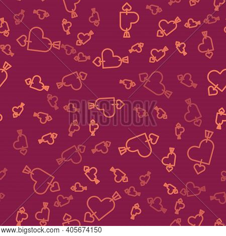 Brown Line Amour Symbol With Heart And Arrow Icon Isolated Seamless Pattern On Red Background. Love