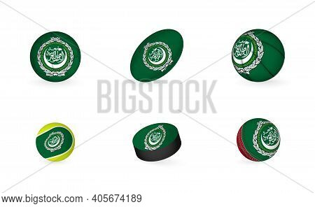 Sports Equipment With Flag Of Arab League. Sports Icon Set Of Football, Rugby, Basketball, Tennis, H