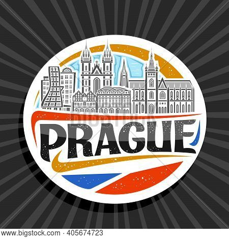 Vector Logo For Prague, White Decorative Tag With Outline Illustration Of Urban Prague City Scape On