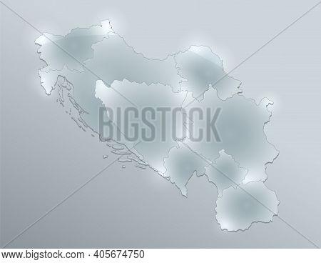 Yugoslavia Map, Administrative Division, Separates Regions, Design Glass Card 3d, Blank