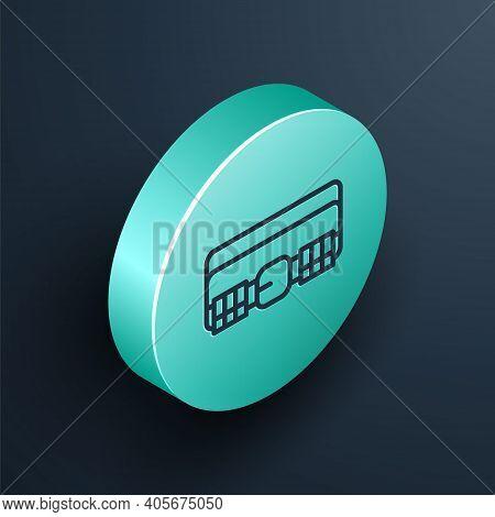 Isometric Line Hunting Cartridge Belt With Cartridges Icon Isolated On Black Background. Bandolier S