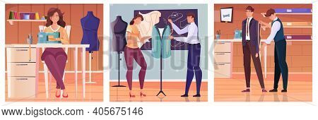 Tailoring Illustrations Flat Set Of Tailor Taking Measurements From Client Masters Modeling Clothes