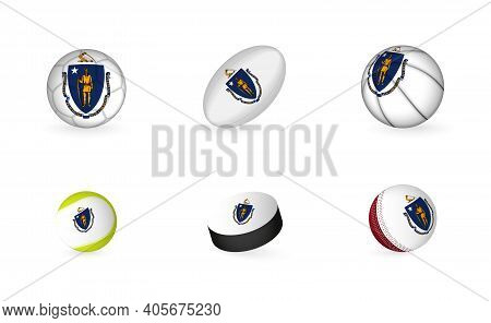 Sports Equipment With Flag Of Massachusetts. Sports Icon Set Of Football, Rugby, Basketball, Tennis,