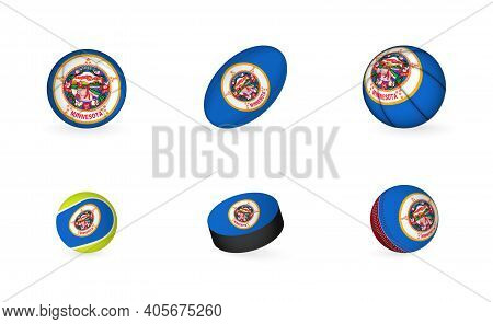 Sports Equipment With Flag Of Minnesota. Sports Icon Set Of Football, Rugby, Basketball, Tennis, Hoc