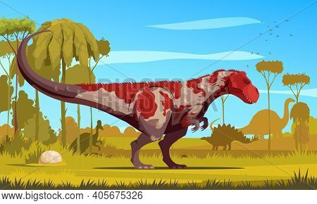 Dinosaurs Cartoon Colored Poster With Giant Predator Tyrannosaurus Lived In Cretaceous Period Flat V