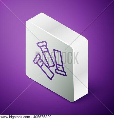 Isometric Line Cartridges Icon Isolated On Purple Background. Shotgun Hunting Firearms Cartridge. Hu