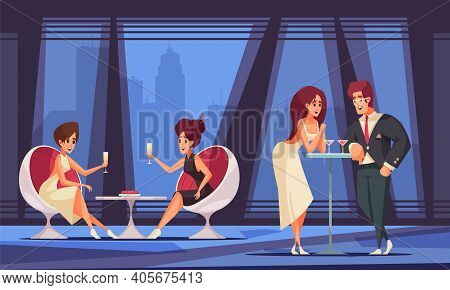 Rich People Flat Background With Wealthy Men And Women Drinking Wine At Vip Party Vector Illustratio