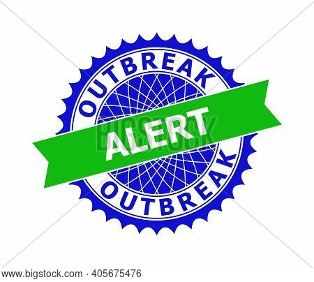 Vector Outbreak Alert Bicolor Template For Rubber Imitations With Clean Surface. Flat Clean Seal Tem