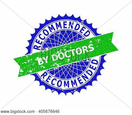Vector Recommended By Doctors Bicolor Stamp With Scratched Style. Blue And Green Colors. Flat Stamp