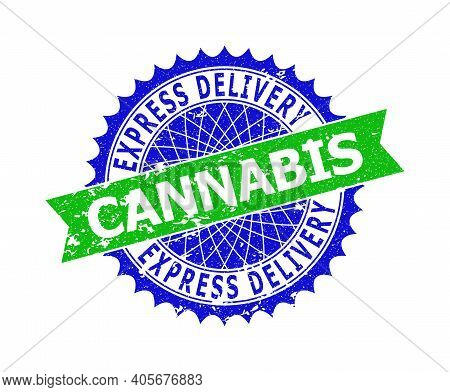 Vector Express Delivery Cannabis Bicolor Stamp Seal With Grunged Texture. Blue And Green Colors. Fla