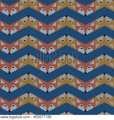 Abstract Seamless Retro Fox Pattern In Line. Cross-stitch. Vector Illustration.