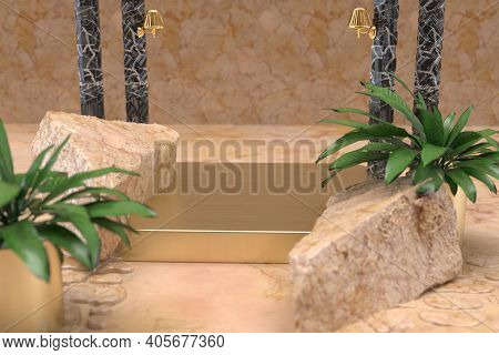 Marble Background With Gold Table Product Display 3d Rendered
